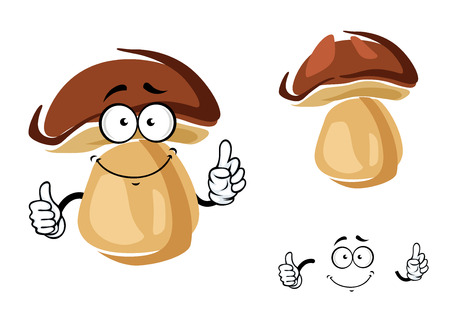 cheerful cartoon: Cheerful smiling cartoon porcini mushroom giving a thumbs up gesture, isolated on white Illustration