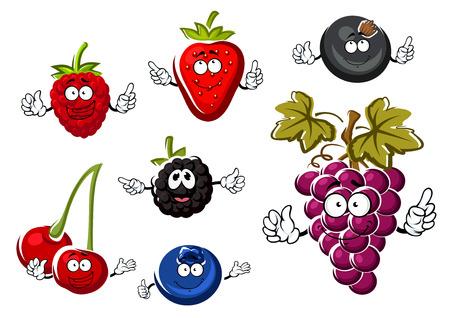 ストロベリー、ラズベリー、ブルーベリー、チェリー、ブラックベリー、カシスなど幸せな笑顔と新鮮な果実キャラクターとブドウの房の盛り合わ  イラスト・ベクター素材