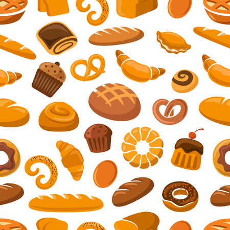 Bakery and pastry seamless pattern with bread, loaf, cake, bun, pretzel, croissant and donut Ilustração