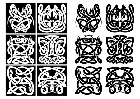 irish symbols: Snakes and reptiles celtic patterns in black or white colors. For art or tattoo design Illustration