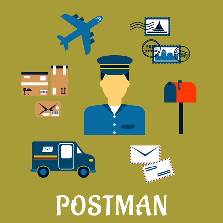 Flat postal icons around a Postman with postage stamps, letterbox, packages, van, airplane and letters on a green background. Postman profession concept