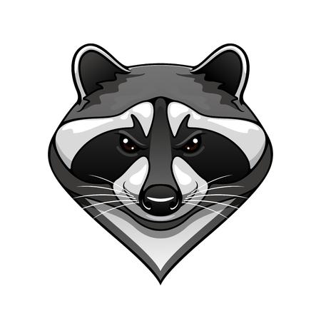 Cartoon wild raccoon animal mascot for sport team or wildlife themes isolated on white Vettoriali