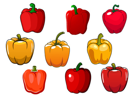 peppers: Red and yellow fresh cartoon bell peppers vegetables
