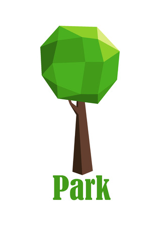park icon: Park icon with a green tree composed of polygonal geometric pattern and shape for the foliage and trunk over the text Park below Illustration