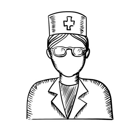 doctor symbol: Black and white sketch of a female doctor or nurse wearing glasses and a uniform