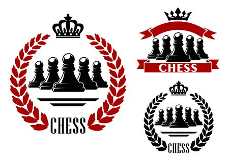 heraldic symbol: Elegant chess game heraldic symbol in black and red color with a number of pawns Illustration