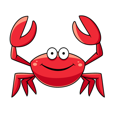 Happy red marine crab with big claws and a smiling face, cartoon style