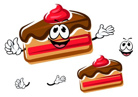 cake slice: Funny cartoon sweet cake slice with little hands and face, isolated on white background Illustration