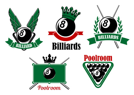 cues: Billiard and poolroom emblems or icons set with wings, crown, crosses cues, ball and decorations Illustration