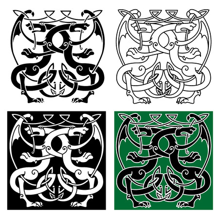 Vintage celtic decorative ornament with ancient winged dragons, for tattoo or art design