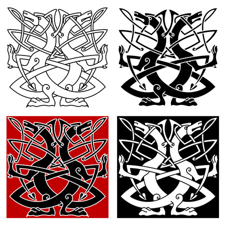 keltische muster: Dog or wolf celtic pattern with traditional knots in outline style