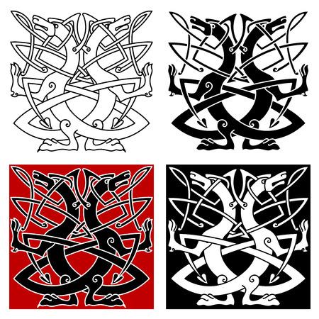 Hund oder Wolf keltische Muster mit traditionellen Knoten im Umriss-Stil Illustration