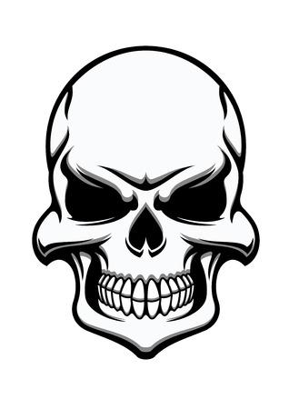 정면: Black and white eerie human skull, eerie frontal view for halloween, horror, death or piracy themes design 일러스트