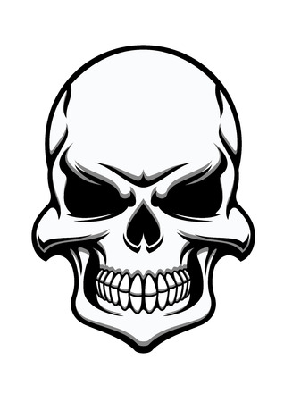 piracy: Black and white eerie human skull, eerie frontal view for halloween, horror, death or piracy themes design Illustration