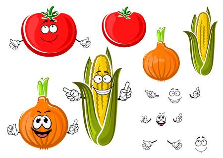 onion: Cebolla de dibujos animados feliz, tomate y ma�z en los vegetales mazorca con caras sonrientes y saludando brazos. Agricultura ?or o dise�o tema de los alimentos