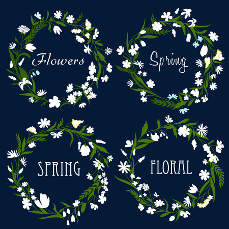 dainty: Set of pretty spring floral wreaths with dainty white flowers and green leaves