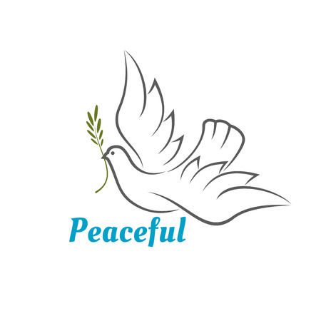 Flying white dove with an olive branch in its beak above the word Peaceful - in blue text