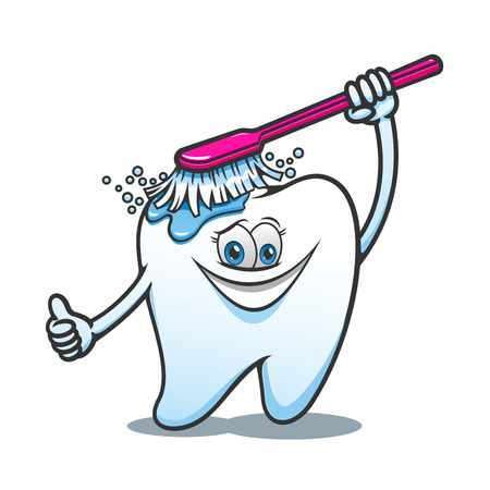 Cartoon happy tooth with brush cleaning ans washing. For dental hygiene or healthcare themes design