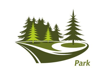 渦巻く芝生と常緑の松と本文の下にある公園と公園のモダンな緑色のアイコン  イラスト・ベクター素材