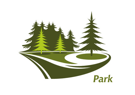 Modern green icon for a Park with swirling lawns and evergreen pines and the text Park below Ilustracja