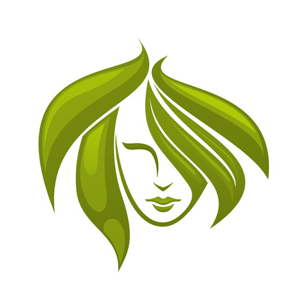 hair: Pretty young woman with swirling green hair icon. For use as a design element for eco, bio or spa related themes