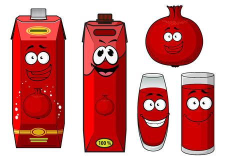 tropical garden: Cartoon pomegranate juice containers with happy smiling faces in different shapes, glasses and boxes and a fresh fruit Illustration
