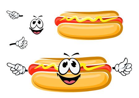 幸せそうな顔は、白で隔離と面白い漫画ホットドッグ サンドイッチ。ファーストフード、テイクアウトのメニュー デザイン