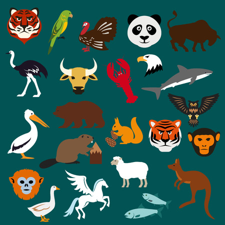 pegasus: Animal and bird icons including tiger, parrot, panda, bear, kangaroo, pelican, beaver, ostrich, turkey, shark, eagle, lobster, bull, squirrel, owl, monkey, sheep, fish, goose and mythical Pegasus, flat style Illustration