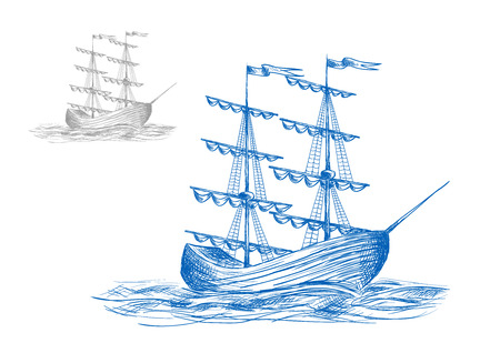 Średniowieczny żaglowiec w falach oceanu, w podróży lub adventure tematów projektu Ilustracje wektorowe
