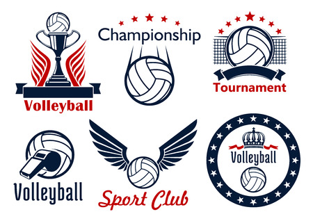 Volleyball tournament and sport club emblems design with ball, net, trophy cup, ribbons, wings, stars and crown