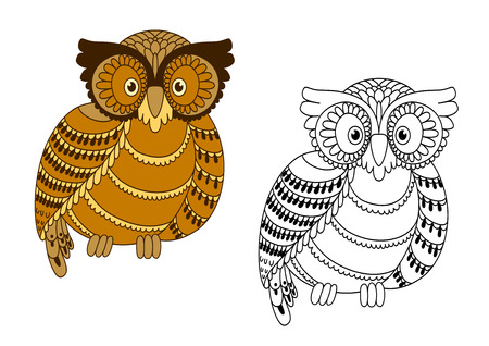 cute animal cartoon: Colorful and outline doodle owl bird for mascot or handmade themes design
