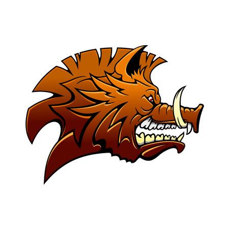 jabali: La cabeza de un jabalí de dibujos animados feroz gruñido salvaje con los colmillos afilados y una expresión media, la vista lateral en marrón Vectores