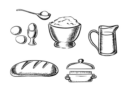 butter: Black and white sketch baking ingredient icons with eggs, flour, milk, bread and butter