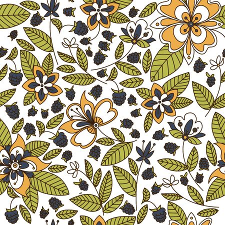 dise�o textil: Floral seamless pattern with ornate stylized flowers with leaves interspersed with fresh blackberries, square format for print and textile design Vectores
