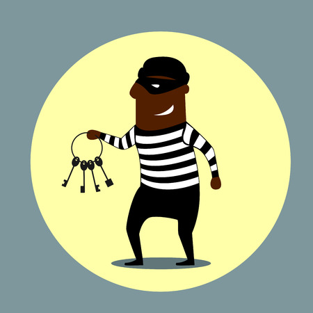 key lock: Burglar or thief carrying a set of keys with a gleeful evil smile, cartoon style Illustration