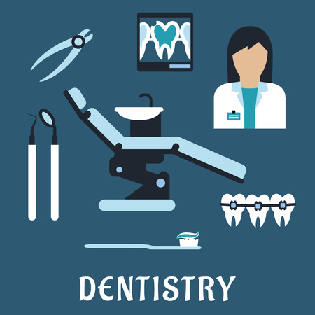 Dentist profession flat icons and symbols with doctor, equipment, tooth, braces, toothpaste and tooth brush