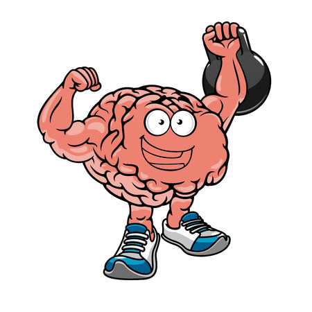 brain: Brawny cartoon brain with muscles lifting weights and cheering, for sports concept design