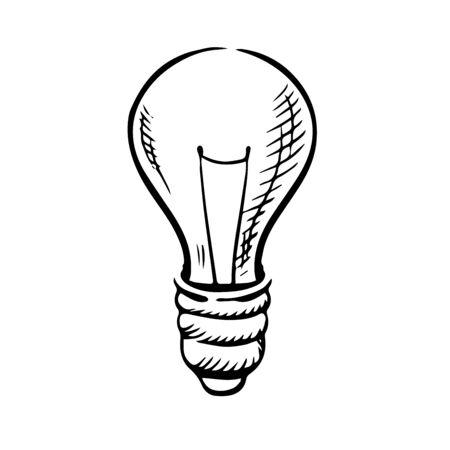 idea sketch: Light bulb icon in sketch style for idea concept theme. Hand drawn image