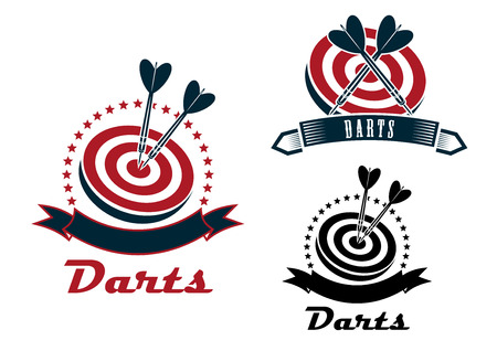 dart board: Darts sport emblems or symbols with a ribbon banner, dart board and darts in different designs, dark grey and red colors
