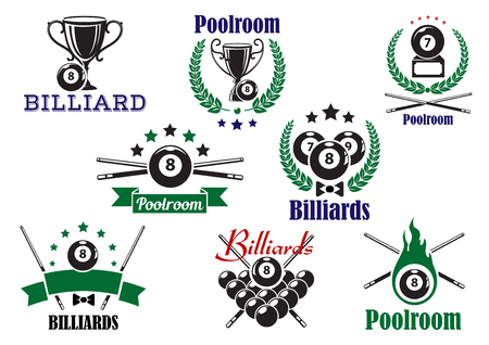 cues: Billiard game or poolroom icons and symbols with balls, trophy cup, crossed cues and decorations Illustration