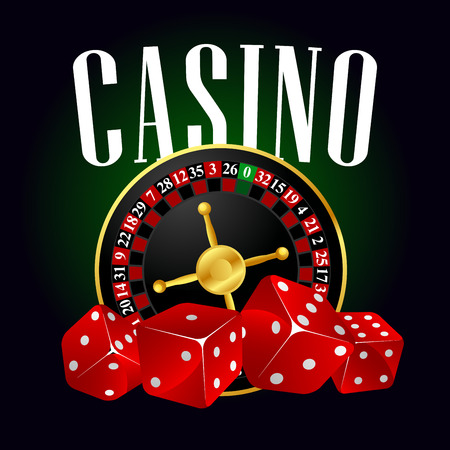 casino wheel: Casino roulette and red dices for entertainment or gambling themes design