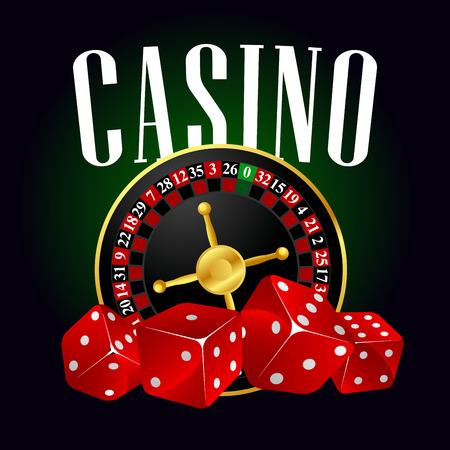 ruleta casino: la ruleta del casino y dados de color rojo para el entretenimiento o temas de juego de dise�o