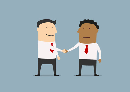 conclusion: Two businessmen of different ethnicity standing shaking hands at the conclusion of a business deal Illustration