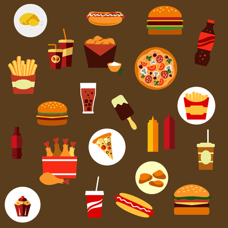 hamburgers: Takeaway and fast food flat icons with French fires, hamburger, pizza, hot dog, ice cream lolly, condiments, and beverages