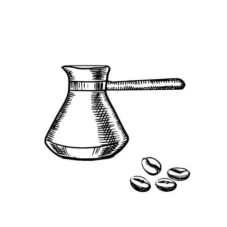 chicchi di caff?: Schizzo in bianco e nero di un manico lungo caffettiera e chicchi di caffè, le bevande per la progettazione tema