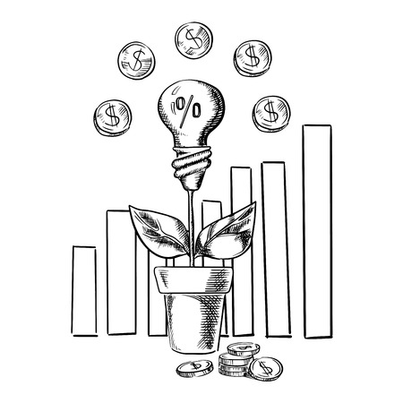 idea sketch: Growth idea light bulb flower and business chart with dollar coins, sketch style