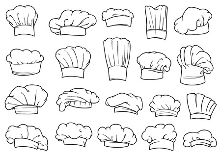 chef: Amplio conjunto de toques cocineros, gorras y sombreros en diferentes formas y diseños, esbozar el estilo de dibujo Vectores