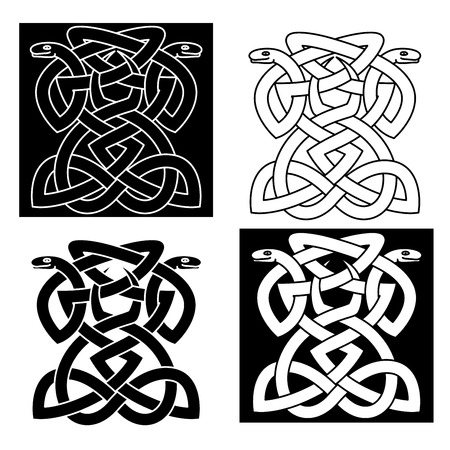 Intricate intertwined snakes emblems forming a geometric pattern in different variations for elegant tattoo or art