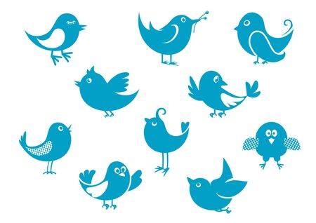 chirp: Set of cartoon cute little blue bird icons perched, flying and singing