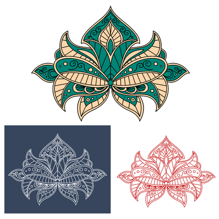 adorned: Graceful green and beige flower in persian style with arrow shaped bud and decorative leaves, adorned by paisley ornaments Illustration